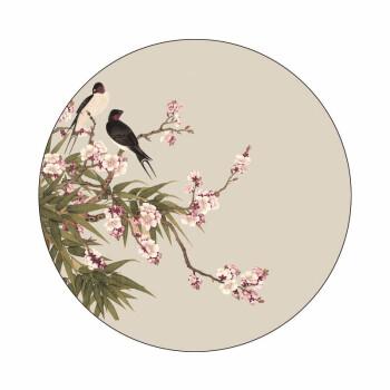 刺繍工婲方円型の油絵の壁紙は枠がなくてくっつきます式の装飾画の新しい中国式の禅の意味の花鳥画の心SW型の150*150 cm SW 07は無枠の粘着式PVCの画用紙の30*30 cmがあります。