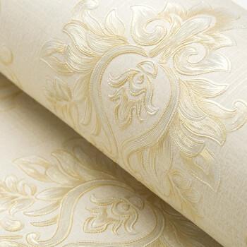 フェロー壁紙壁紙テレビ背景の壁壁紙欧式ダマスカスストライプ環境保護不織布壁紙3 d立体浮き彫り130 g底紙厚い非粘着式浅いカーキ