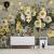 壁の仙境の北欧の手描きの白い木槿の花の壁紙の創意油絵の芸術の壁紙を描いて居間のテレビの背景の壁のカスタマイズの壁画のベッドルムのソファーのシームレスな壁のガーゼの糸の本当の糸の布(工事を含みます)の105元/平方